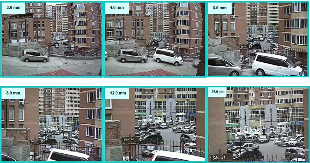 Сравнение фокусного расстояния камер